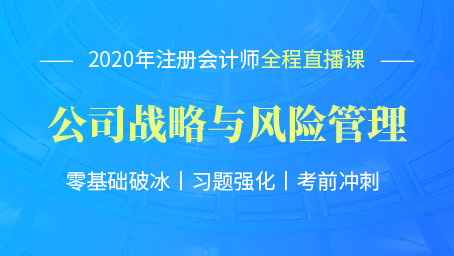 2020年注会战略习题强化班第八讲